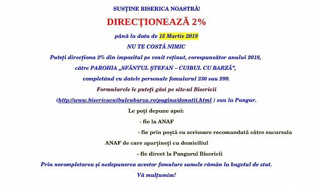 DIRECȚIONEAZĂ 2%